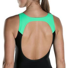 speedo Hydrasuit Swimsuit Women Black/Oxid Grey/Fake Green